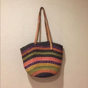 Handbags - Large woven striped rattan with leather strap hobo
